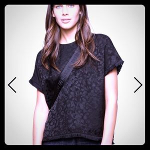 Zadig & Voltaire blk silk animal jacquard top - M